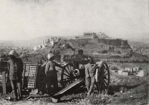 National Schism - French troops in Athens, with the Acropolis in the background, after the Noemvriana.
