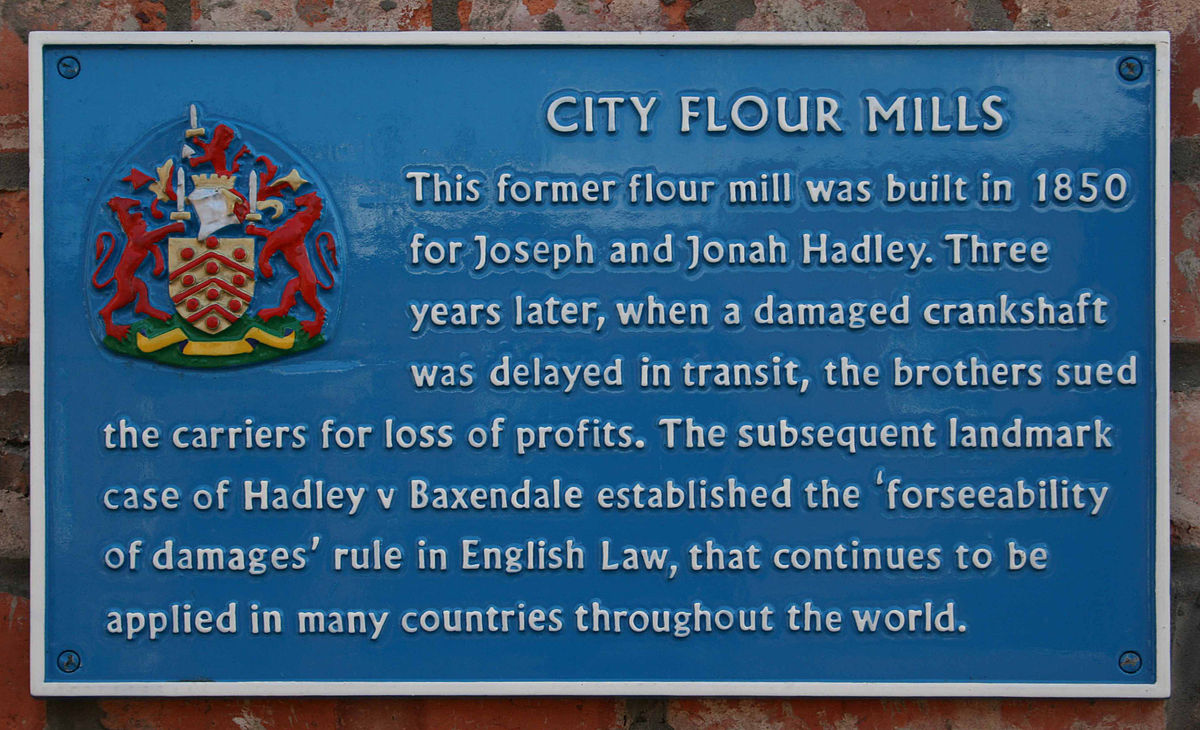 case history of hadley vs baxendale Appellant- baxendale appellee- hadley if this is an appeal, which party appealed and why baxendale failed to deliver crankshaft involved in flour production on time, causing the mill to close hadleys sued to recover profits lost.