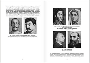 "Hans F. K. Günther - Pages 34-5 of Short Ethnology of the German People. On the left page (right of two) there is an image of Josef Stalin as representative of the Armenoid race while on the right page (bottom two of four) there are two images of Jews from Germany and Austria respectively,  described as ""mainly Near Eastern"", which is also known as Armenoid."
