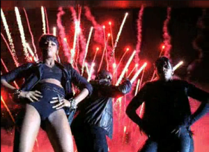 Hello Good Morning - The final scene of the video where Dawn, Diddy and Kalenna (L to R) pose for the camera, against a backdrop of fireworks.