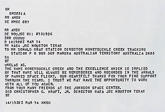 Honeysuckle Creek Tracking Station - Copy of telex sent to Director of Honeysuckle Creek tracking station