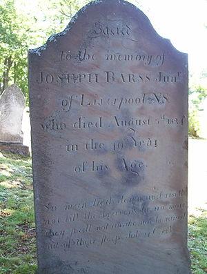 Joseph Barss - Joeseph Barss' Tombstone, Oak Grove Cemetery, Kentville, NS