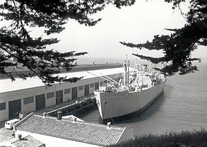Fort Mason - The SS Jeremiah O'Brien is a World War II era Liberty ship. Built in 57 days, the ship is an example of the United States rapid response to sealift demands of the war.