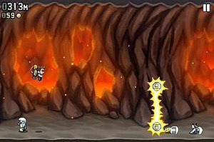 Jetpack Joyride - Barry flies through a volcano. Below him is a scientist. In front of him is an electric zapper.