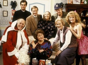 Keeping Up Appearances -  The cast in 1991. Standing from left to right, Jeremy Gittins, David Griffin, Judy Cornwell, Geoffrey Hughes, and Mary Millar.  Seated from left to right, Clive Swift, Patricia Routledge and Josephine Tewson.