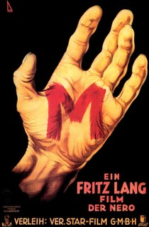<i>M</i> (1931 film) 1931 German drama-thriller directed by Fritz Lang
