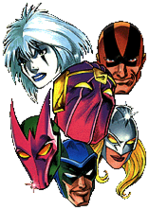 Masters of Evil - The Masters of Evil: (from top) Screaming Mimi, Goliath, Baron Zemo, Beetle, Fixer, and Moonstone. Art by Mark Bagley