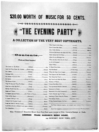 Frank Harding - Advertising page from 1894 from Don't Burn the Cabin Down.
