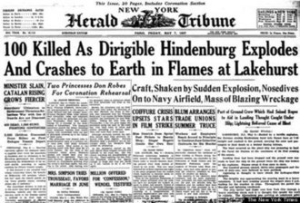 New York Herald Tribune - New York Herald Tribune cover on May 7, 1937 covering the ''Hindenburg'' disaster