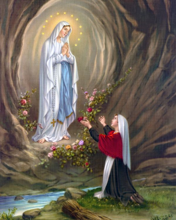 Our Lady of Lourdes: An artwork depicting the Blessed Virgin Mary appearing on the grotto, in front of Bernadette Soubirous. Notre Dame de Lourdes.JPG