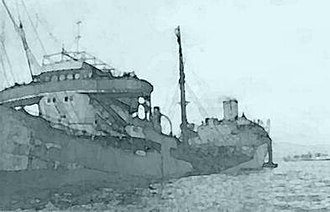 Italian auxiliary ship Olterra - Image of Thorshøvdi broken in two at Gibraltar.