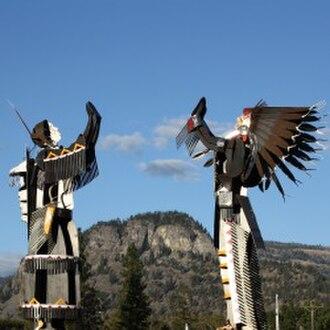 Oliver, British Columbia - Osoyoos Indian Band iconic sign at Senkulmen