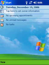 Typical Windows Mobile 2003 for Pocket PC Today Screen