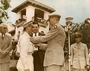 Pedro Cano - Pedro Cano is pinned with Distinguished Service Cross medal by General Jonathan Wainwright