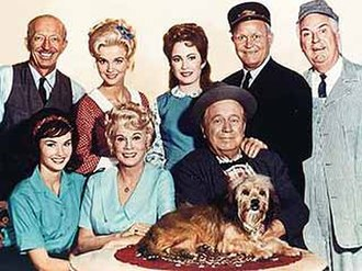Petticoat Junction - The Season 3 cast of Petticoat Junction in 1966. Sitting on table: Higgins the dog. Front row (L-R): Lori Saunders (Bobbie Jo), Bea Benaderet (Kate), and Edgar Buchanan (Uncle Joe). Back row (L-R): Frank Cady (Sam Drucker), Gunilla Hutton (Billie Jo), Linda Kaye Henning (Betty Jo), Rufe Davis (Floyd Smoot), and Smiley Burnette (Charley Pratt)