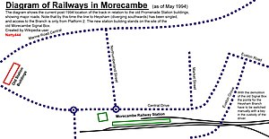 Morecambe railway station - A diagram of the current track layout, which was heavily rationalised since the closure of Promenade station in 1994