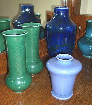 Ruskin Pottery - A group of Ruskin Pottery soufflé, 1905-1913