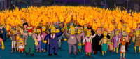 The shot of an angry mob coming for Homer features cameos from over 320 characters