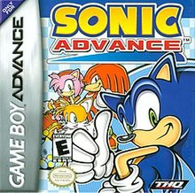 Cover art, depicting Sonic, Tails, Amy, Rocky, and Chao. The game's logo is seen above all characters, and the Sega and Nintendo logos are seen in the right and left hand corners, respectively.