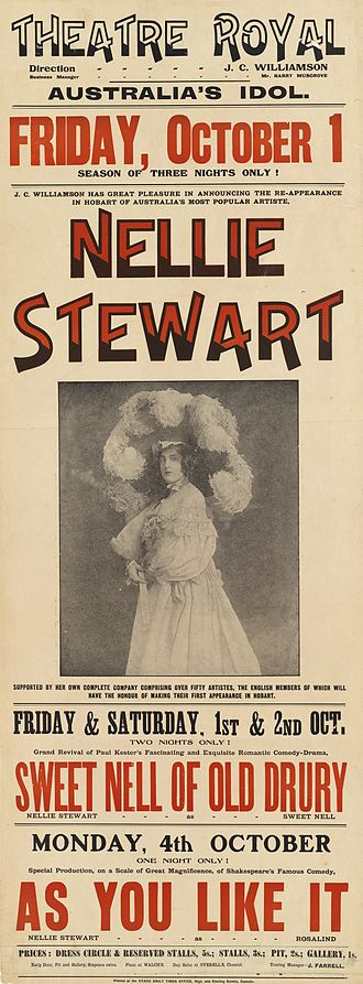 Sweet Nell of Old Drury - Poster from 1909 production of play with Nellie Stewart