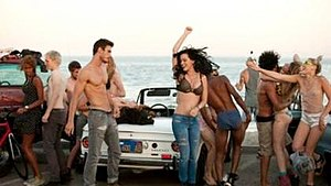 "Teenage Dream (Katy Perry song) - Perry during a beach party in the music video for ""Teenage Dream""."