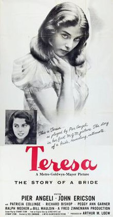 Poster with an illustration of actress Pier Angeli and film details