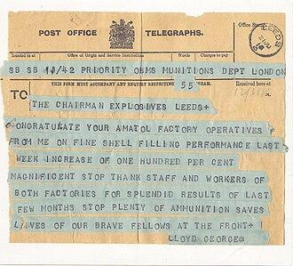 Telegram style - Image: Watson Lloyd George Telegram