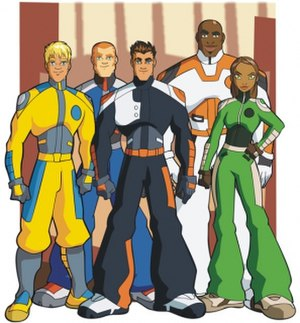 Characters of A.T.O.M. - The five main characters who make up the titular Alpha Teens geared up. From left to right: Shark, Hawk, Axel, King and Lioness.