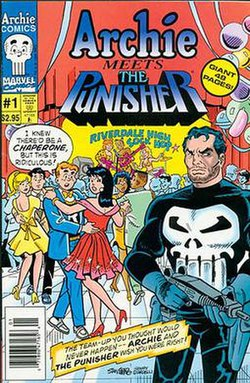 "Archie and his friends are in the middle ground dancing at a school event. Punisher is in the foreground holding a gun. Archie's speech balloon reads ""I knew there'd be chaperones, but this is ridiculous!"" A band is playing music in the background. At the top of the image, the title ""Archie Meets the Punisher"" is displayed with the character names in their traditional logos."