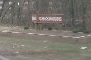 Cheswolde, Baltimore - Cheswolde sign at Cross Country Boulevard and Greenspring Avenue