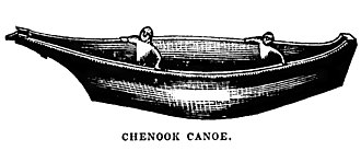 Chinookan peoples - Drawing of a Chinook dugout canoe from a memoir of the Oregon Country published in 1844