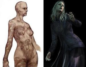 Silent Hill 3 - Early sketch of antagonist Claudia Wolf (left) and her final appearance (right)