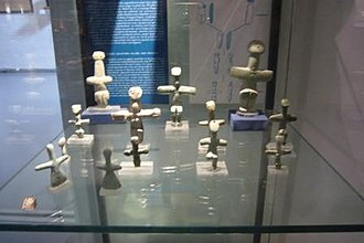 Lempa, Cyprus - Chalcolithic cruciform figurines found in Lemba. These are made from picrolite and on display in Gallery 1 of the Cyprus Museum.