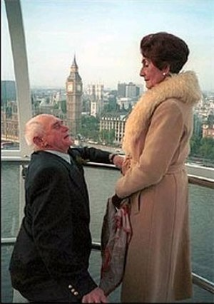 Dot Cotton - Jim proposes to Dot, 21 December 2001. The scenes were filmed on-location in one of the carriages on the Millennium Eye in central London away from the soap's typical set. The coat worn by Dot here was given to her in the soap by Angie Watts in the 1980s, and Brown has suggested that it's a rarely used part of her costume which only appears on very special occasions.