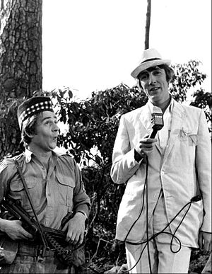 Peter Cook - Cook and Dudley Moore in London for the US television programme, Kraft Music Hall