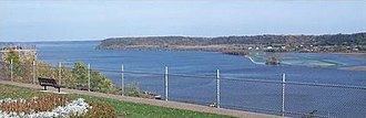 Parks in Dubuque, Iowa - The Mississippi River, as seen from Eagle Point Park.