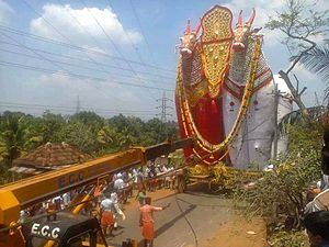 Temple festivals of Kerala - View of a huge nandikesh from Nooranad Padanilam Sivarathri