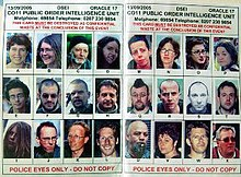 "A piece of paper with 24 photographs of people saying ""for police eyes only"" and that it should be destroyed after the event"