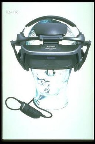 Stereoscopic video game - The Glasstron by Sony, mounted on a clear head