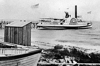 Monohansett (steamboat) - the steamer Monohansett, possibly at West Chop Wharf in Tisbury, Massachusetts.