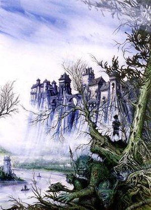 Ian Miller (illustrator) - Death on the Reik, which featured as the cover of the Warhammer Fantasy Roleplay campaign instalment of the same name, and exhibiting Miller's line and wash method, restricted use of colour and the 'gnarled trees' Patrick Woodroffe refers to below.