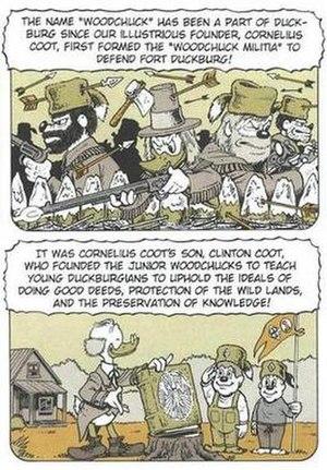 "Junior Woodchucks - History of the Junior Woodchucks from ""W.H.A.D.A.L.O.T.T.A.J.A.R.G.O.N."" by Don Rosa (1997). (Edited image)"