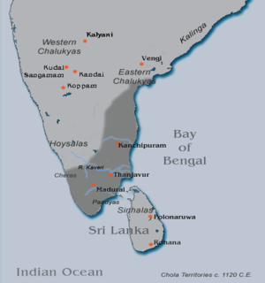 Kulottunga I - Chola territories at the end of Kulottunga Chola I's reign (c. 1120 CE).