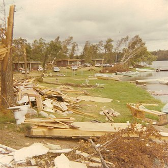 1969 Minnesota tornado outbreak - Damage to cabins near the current Lake Roosevelt Resort just north of Outing, Minnesota, from the F4 tornado.  Damage in the photo is not indicative of maximum intensity.