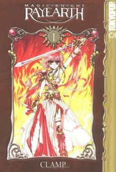 at=A book cover. Near the top is text reading Magic Knight Rayearth. At the side, text reads Tokyopop. Below the number one in white is a framed picture of a girl clad in red and pink wielding a sword against a background of flames. White text at the bottom reads Clamp.