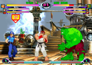 Marvel vs. Capcom 2: New Age of Heroes - Jill Valentine performs a healing assist on Ryu during his battle against the Hulk. Marvel vs. Capcom 2 re-implements the assist system from Marvel Super Heroes vs. Street Fighter, which had been removed in Clash of Super Heroes.