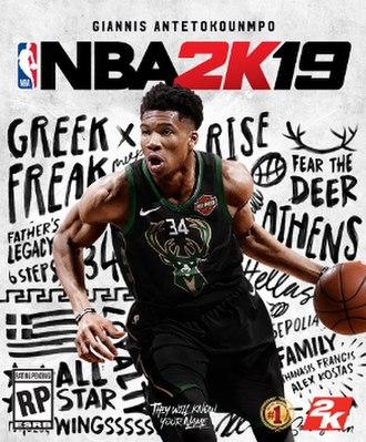NBA 2K19 - Cover art featuring Giannis Antetokounmpo