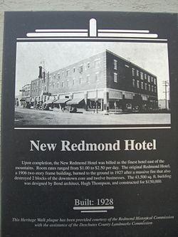 New Redmond Hotel Heritage Walk Marker