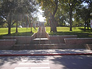 Sam Houston State University - Steps to the Old Main, with a view of Austin Hall.