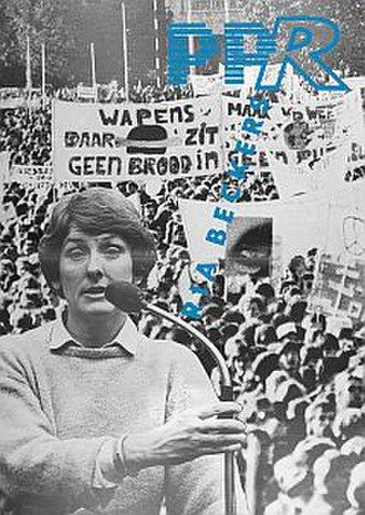 Political Party of Radicals - Poster for the 1986 elections showing party leader Ria Beckers in front of the 1983 anti-nuclear weapons demonstration